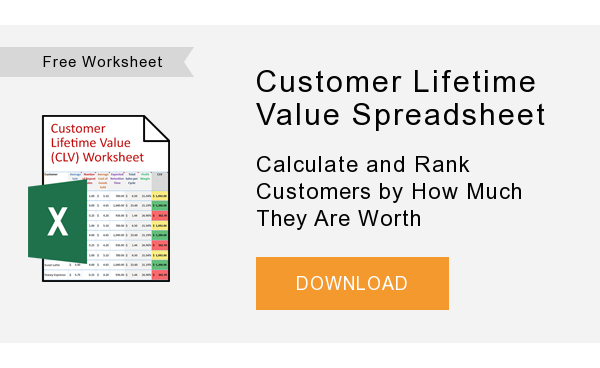 Free Worksheet   Customer Lifetime Value Spreadsheet  Calculate and Rank Customers by How Much They Are Worth  DOWNLOAD