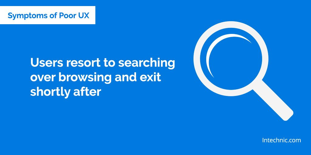 Users resort to searching over browsing and exit shortly after