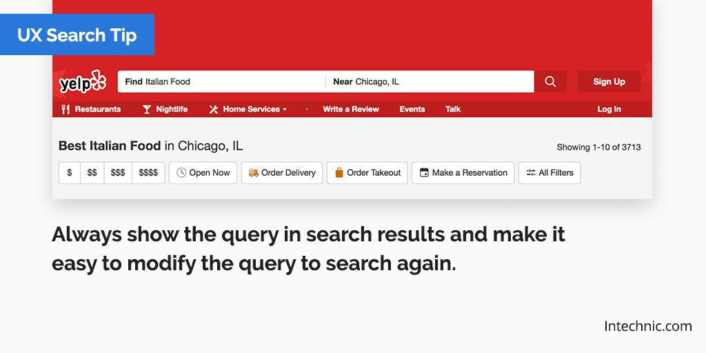 Always show the query in search results and make it easy to modify the query to search again