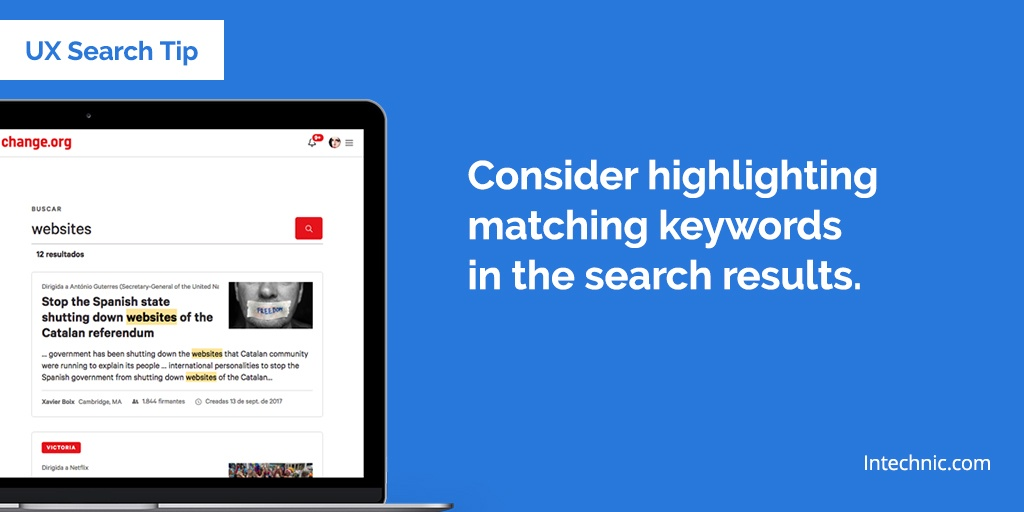 Consider highlighting the matching keywords in the search results