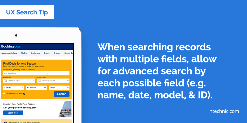When searching records with multiple fields, allow for advanced search by each possible field